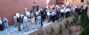 Networking in the courtyard of Sun Theater.
