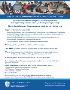 St. Louis Summer Transportation Institute @ SLU Parks College of Engineering, Aviation and Technology, McDonnell Douglas Hall   St. Louis   Missouri   United States