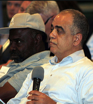 Abdul-Ghani Mekkauoui, project manager for Detroit area-based Jay Dee Contractors, listens while MSD Executive Director Brian Hoelscher attempts to answer one of his questions.