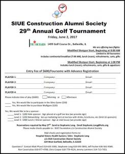 siue construction alumni society 29th annual golf tournament