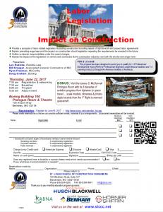 SLCCC -Labor Legislation Impact on Construction @ Boeing Building 100 Prologue Room & Theatre | St. Louis | Missouri | United States