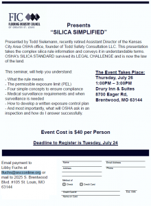 "Flooring Industry Council Presents ""Silica Simplified"" @ Drury Inn & Suites 