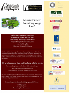 Missouri's New Prevailing Wage Law? @ Maryland Heights Community Center | Maryland Heights | Missouri | United States