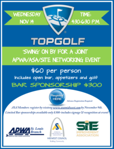 ASA/SITE/APWA Networking Event (Members Only) @ Topgolf | Chesterfield | Missouri | United States